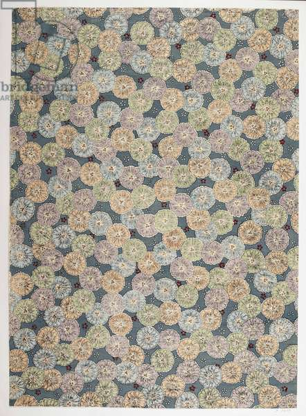 Floral pattern, illustration from 'The Olga Hirsch Collection of decorated papers' (colour woodblock print)