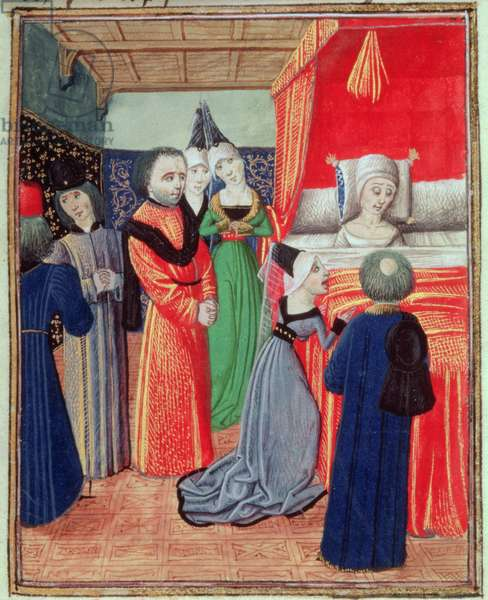 Harl 4380 f.22 Death of Queen Anne of Bohemia, wife of Richard II, caused by the plague, from Froissart's Chronicle, Vol IV (vellum)
