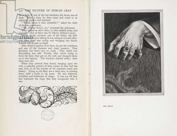 'The Rings', last page from the novel 'The Picture of Dorian Gray', by Oscar Wilde, 1925 (litho)