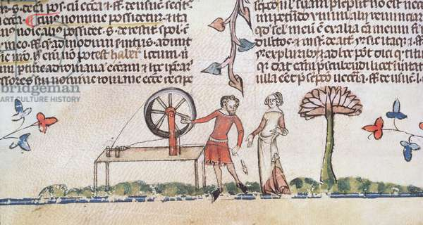 Roy 10E IV f.147v Man and woman by a spinning wheel, from Anciennes Chroniques d'Angleterre, by Jean Batard de Wavrin, c.1470-80 (vellum)