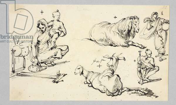Mother and child, a lion and a goat, from an 'Album Of Drawings Of Bengal' (pen & ink with pencil on paper)