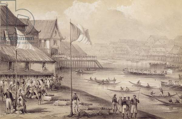 """Brunei: Captain Mundy's visit to the Sultan from Captain Mundy's """"Borneo and Celebes"""""""
