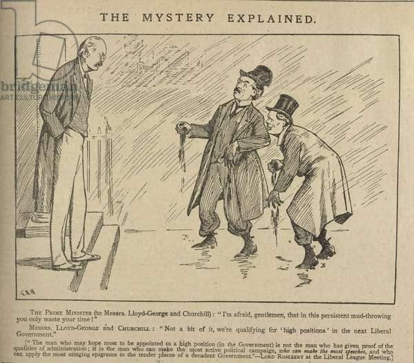 The mystery explained. A cartoon depicting Sir Henry Campbell-Bannerman, David Lloyd-George and Winston Churchill. Illustration from issue dated 18th April 1905