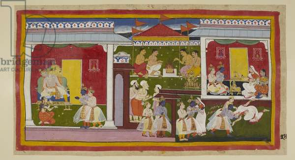 Add 15296 (1) f.34r, Rama accepts his banishment with perfect equanimity, and he and Laksmana take leave of Kaikeyi and Dasaratha, who with head downcast and averted gaze cannot bring himself to look at his son. He and Laksmana leave Kaikeyi's palace and go to that of Rama's mother Kausalya
