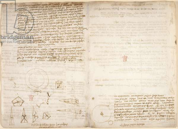Arundel 263, f.266v, f.267 Notes on cosmology (upside-down); diagrams illustrating Leonardo's observations on the centre of gravity, from 'Codex Arundel', c.1506-8 (pen & ink on paper)