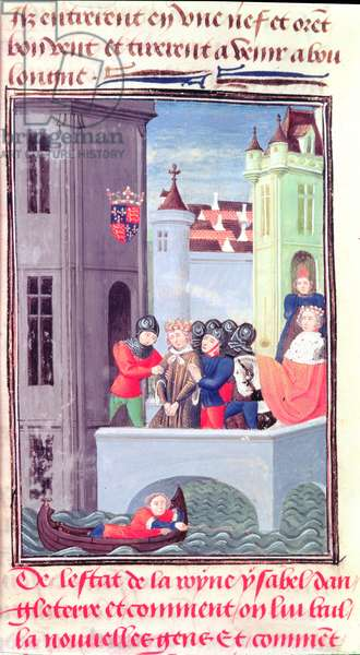 Harl 4380 f.181v Richard II is taken into the Tower of London, from Froissart's Chronicle, Vol IV (vellum)