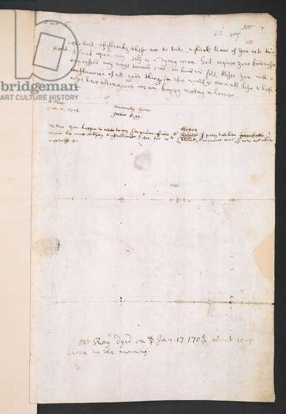 John Ray's last letter to Hans Sloane, written on 7 January 1705 (MS 4039, f. 412) (pen & ink on paper)