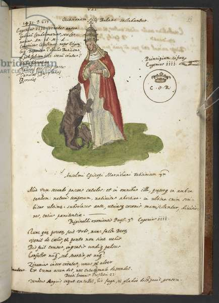 Add MS 17432 'Prophecies and images of the fifteenth Pope, by Joachim of Fiore...'  (ink & colour on paper)