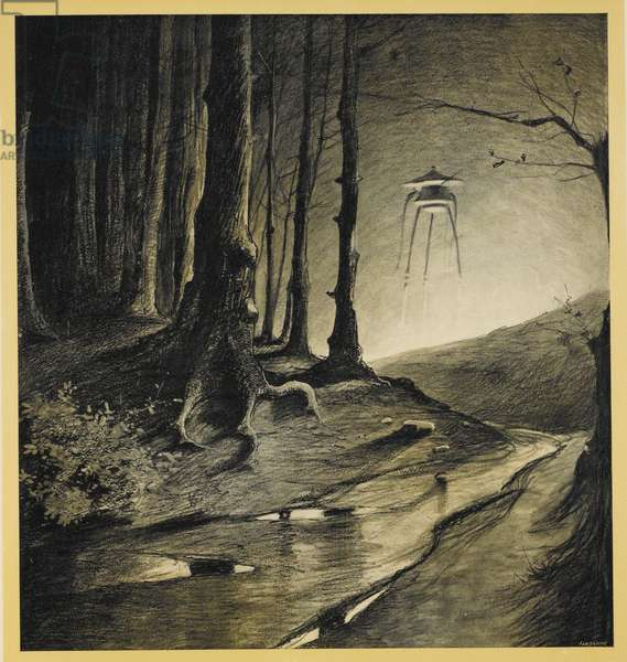 A tripod in the woods. Dead birds in a stream. Illustration from 'war of the worlds'.