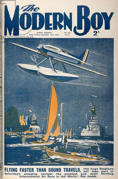 Front cover. 'Flying faster than sound travels.' A flying boat.The Modern Boy12 September 1931