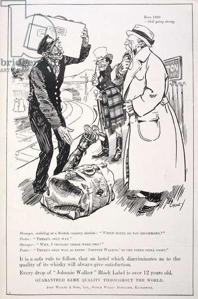 'Born 1820 - still going strong'. An advertisement for Johnnie Walker whiskey.