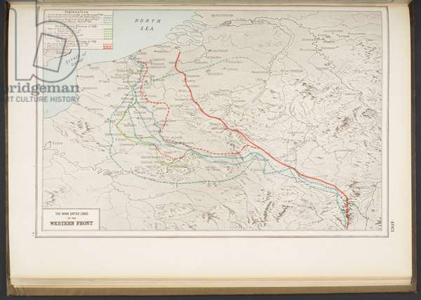The Main Battle Lines of the Western Front, from 'Harmsworth's Atlas of the World and pictorial gazetteer with an atlas of the Great War...', 1922 (colour litho)