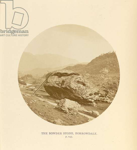 The Bowder Stone, Borrowdale, 1864 (b/w photo)