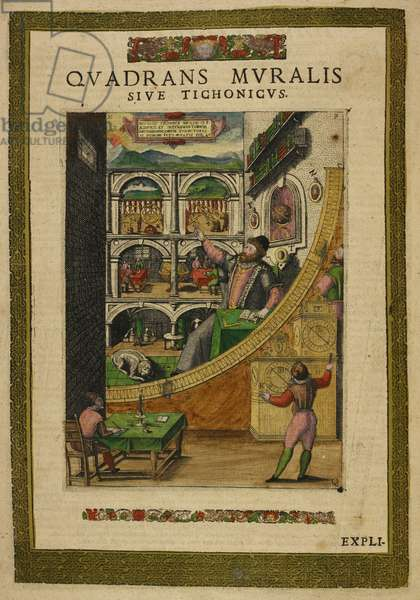 The astronomer Tycho Brahe, aged 40, in 1587, amongst his astronomical instruments