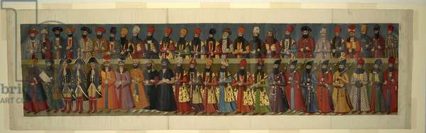 Or. 1242  Copy of the Great Mural in Nigaristan Palace. The Court of Fath Ali Shah with British Envoys Sir John Malcolm, Sir Harford Jones Brydges, and Sir Gore Ouseley, 1816-20  (w/c & gold on paper)