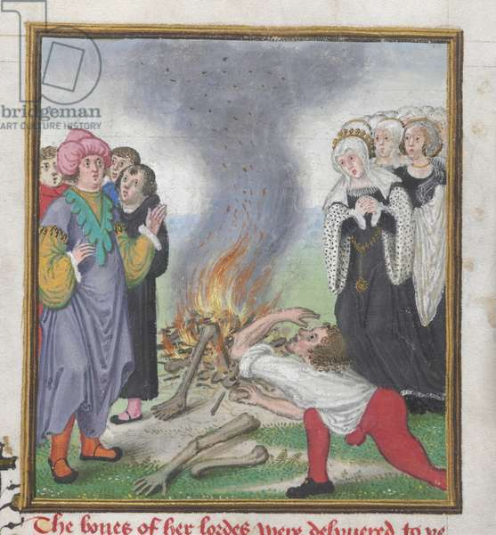 Roy 18 D II f.161 Theseus burning the bodies of the Athenians slain by King Creon of Thebes, from  the 'Troy Book and the Story of Thebes' by John Lydgate (c.1370-c.1451) 1412-22 (vellum)
