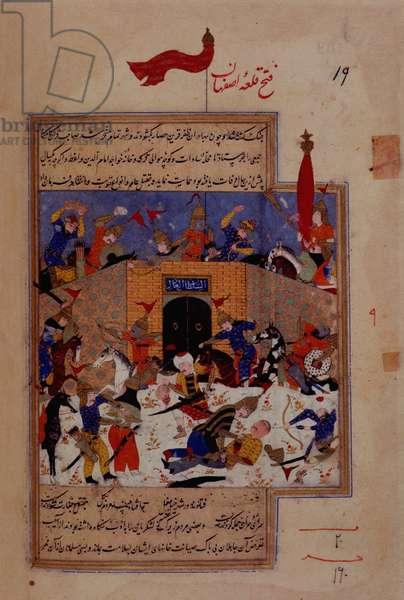 I.O. Islamic 137 f.139v, Capture of Isfahan by Timur, from the 'Zafarnama' by Sharaf al-Din, 1533 (vellum)