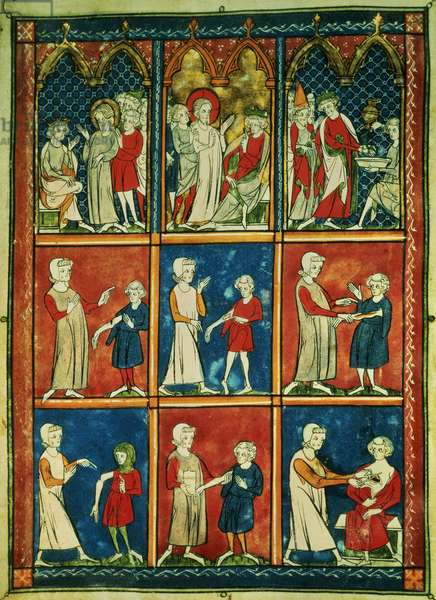 Sloane 1977 Various medical ailments and biblical scenes, from 'Chirurgia' by Rogier de Salerne, 1300-10 (vellum)
