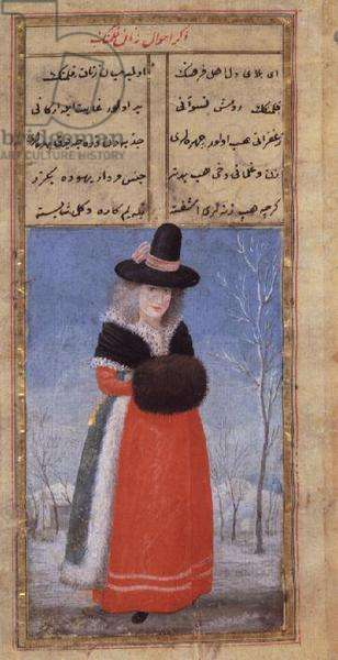 A Dutch woman in winter costume by Fazil Husayn Andaruni, Or 7094 f.44, late 18th century