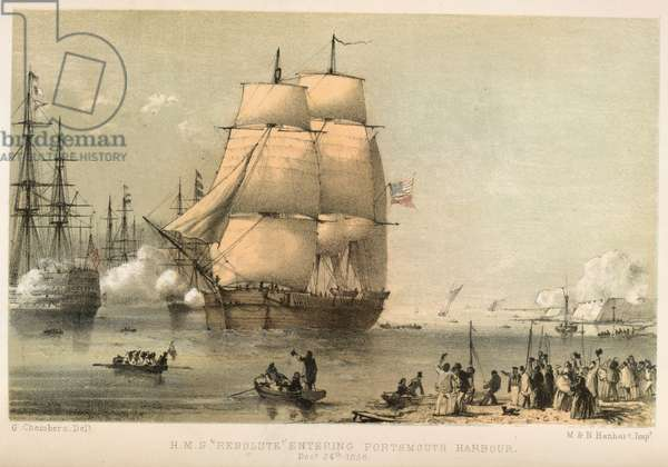 H.M.S Resolute entering Portsmoutn harbour. December 24th 1856.