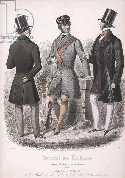 Three men, one dressed for hunting.