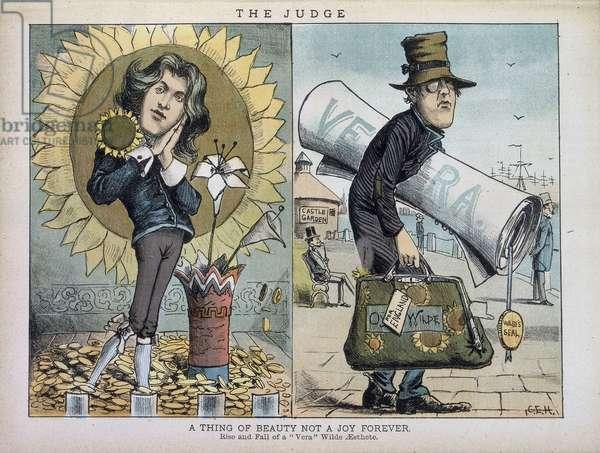 """"""""""" Derrière chacune des choses exquises qui existaient se cachait quelque chose de tragique. Elevation et chute d'une Vera, esthete d'Oscar Wilde"""""""". Deux caricatures d'Oscar Wilde, l'une avec des tournesols et l'autre le montrant deguise dans l'anonymat, portant un grand rouleau de parchemin sous son bras. In """"""""Harper's new"""""""", magazine mensuel. Entre 1850-1891. """"""""The Judge. A Thing of Beauty not a joy forever. Rise and fall of a 'Vera' Wilde aesthete """""""". Two caricatures of Oscar Wilde. One of him with a sunflower and another showing him carrying a large rolled document under his arm. From Harper's new monthly magazine. 1850 - 1891. The British Library Institution Reference: Shelfmark ID: PP.6383 ©The British Library Board/Leemage"""