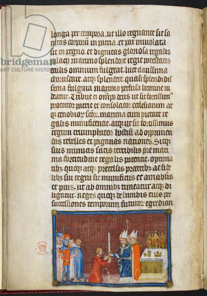 Cotton Tiberius B. VIII f.49v The Archbishop of Reims returning the sword to the King, illustration from 'The Coronation Book of Charles V, King of France', 1365-80 (vellum)