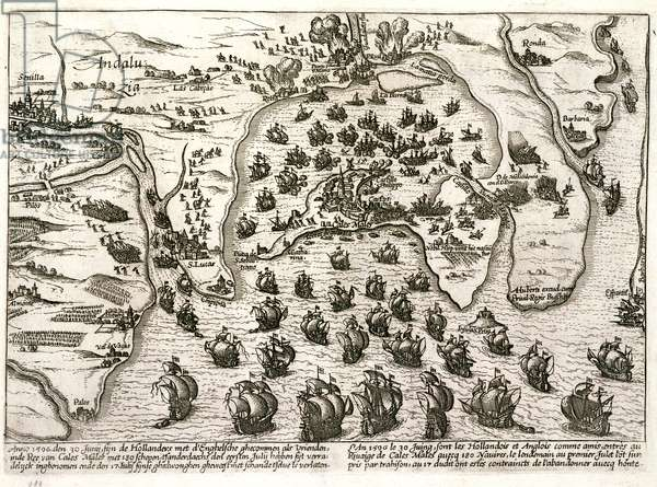Plan of the port of Cadiz in 1596 at the time of the attack by Sir Walter Raleigh (engraving)