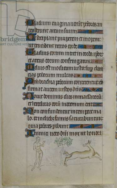 Bas-de-page scene of a creature called a serpens, who runs from a man if he is naked, but attacks the man if he is clothed