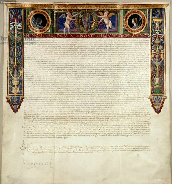 A grant from Ludovico Maria Sforza Visconti, Duke of Milan, to his wife, Beatrice d'Este of lands in the territories of Novara, Pavia, and Milan, 1494