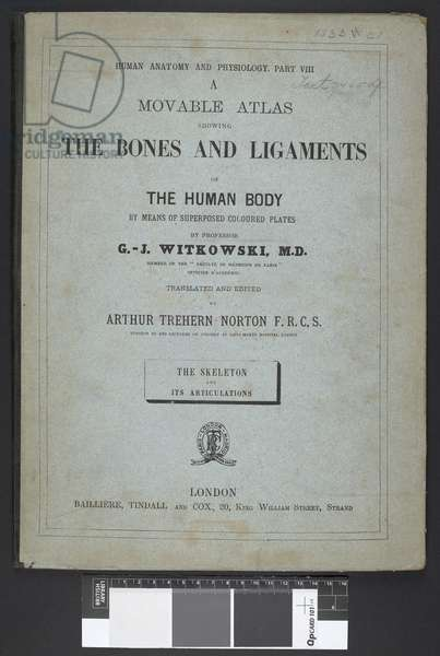 Title page from 'A Movable Atlas showing the bones and ligaments of the human body', by G-J Witkowski (engraving)