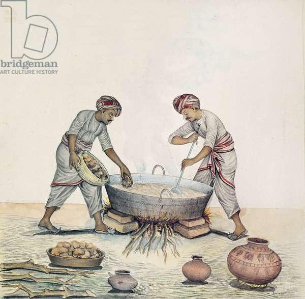 AS10 Vol.52 ff.6 4972 Cat.201 i-iv Sugar making, Bombay, c.1873 (w/c on paper)