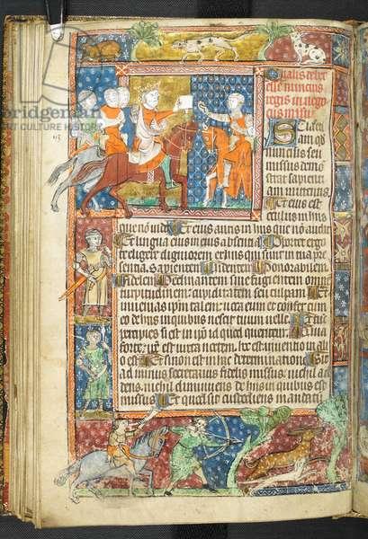 Add MS 47680, f.40v, King (Alexander) and Aristotle handing a letter to a messenger, from Secretum Secretorum, 1326-27 (vellum)