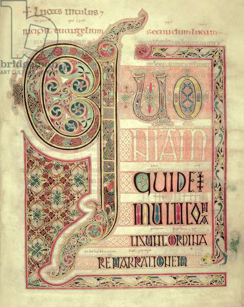 Cott Nero DIV f.139 Incipit page to the Gospel of St. Luke, from the Lindisfarne Gospels, 710-721 (vellum)