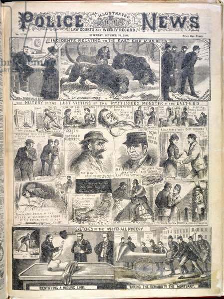 'Incidents relating to the East End murders'. 'The history of the last victims of the mysterious monster of the East-End'. Illustrations relating to the Whitechapel or 'Jack the Ripper' murders.