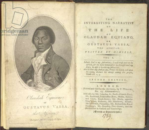 Titlepage from 'The Interesting Narrative of the Life of Olaudah Equiano, or Gustavus Vassa, the African', published 1789 (print)