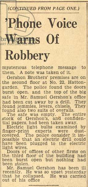 Phone Voice Warns of Robbery, from the Daily Express, 12 February 1936 (newsprint)