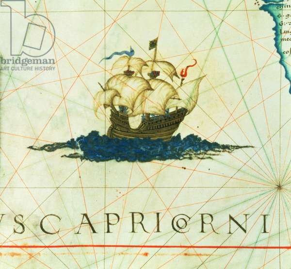"Add 5415A f.11 Galleon in full sail, detail from ""Opus Geographicum"", 1558, by Diego Homem (map showing the southern coasts of North America and the west of South America)"