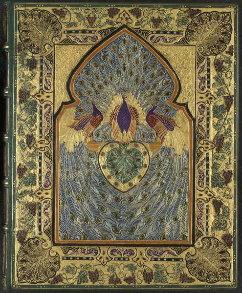 Binding for the Rubáiyát of Omar Khayyám (turquoise goatskin with jewels)
