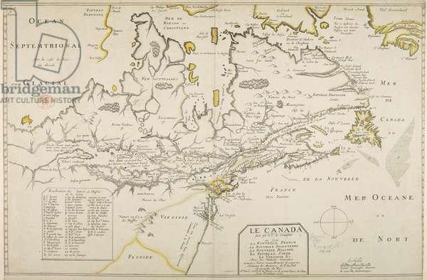 Le Canada, Northeastern Coast, by Samuel de Champlain, 1653 (coloured engraving)