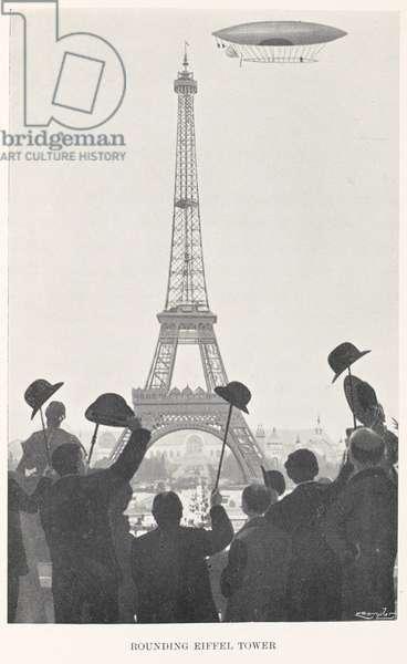 Santos Dumont rounding the Eiffel Tower, 1901 (litho)