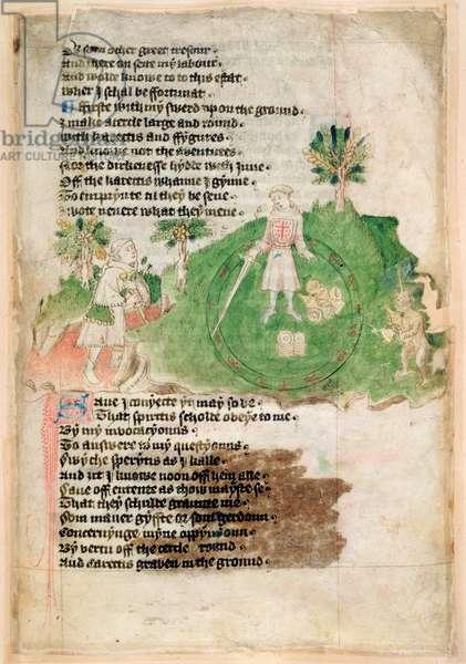 Cotton Ms Tiberius A vii  fol.44 Demons bringing treasure to a magician (vellum)