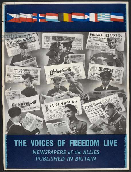 The voices of freedom live newspapers of the allies published in Britain (colour litho)