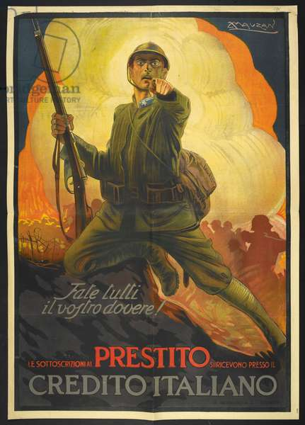 Italian government poster for the War Loan. A propaganda poster depicting a soldier, pointing.