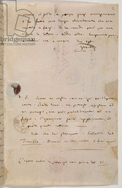 Zweig MS 97 f.2r Letter to the publisher Tito Ricordi, Rome, 4 Feb 1859 (ink on paper)