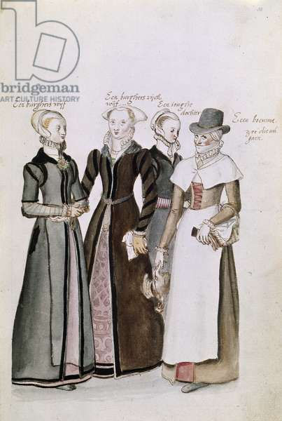 Drawing of English Ladies in Costume