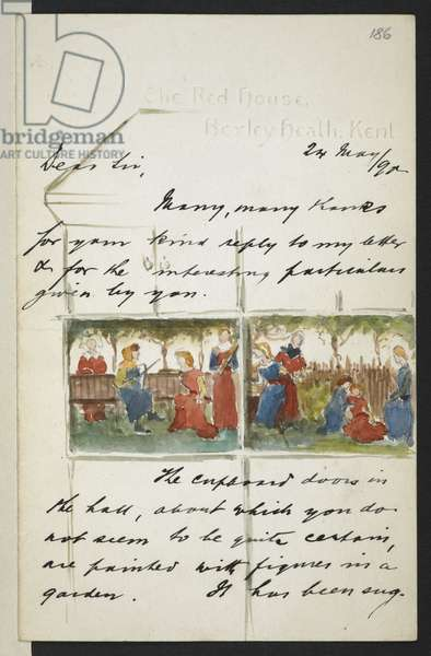 Add MS 45345 f.52 Sketch included in correspondence from Charles Holme to William Morris in May 1890 (pen & ink with w/c on paper)