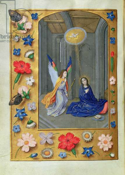 Additional 54782, f.73v: Annunciation, from the Hastings Hours, c.1475-83 (vellum)