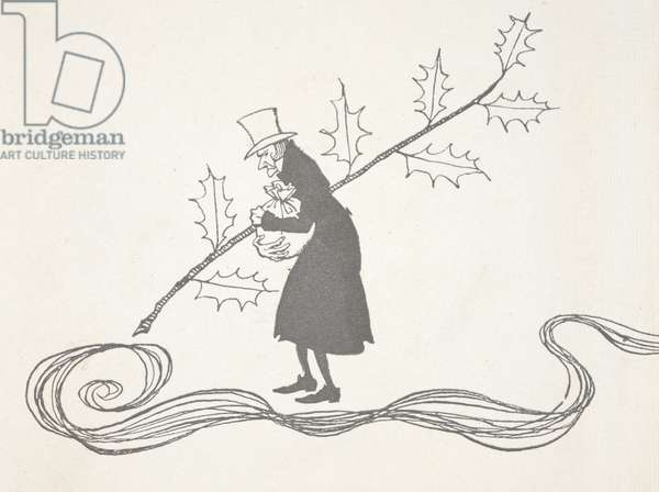 Illustration of Scrooge, depicted by a sprig of holly, clutching a bag of money and looking angry.