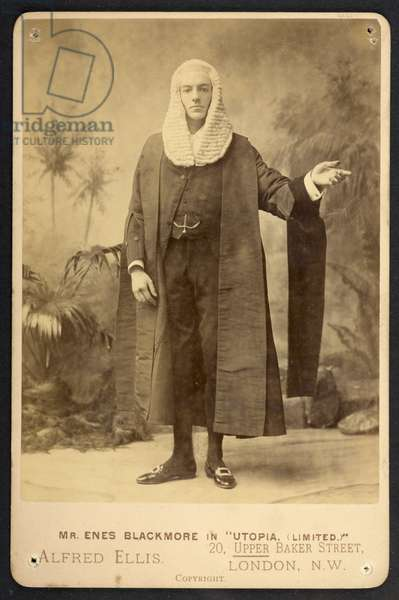 'Enes Blackmore as Sir Bailey Barre QC MP', The First Performance of Gilbert and Sullivan's Comic Opera 'Utopia, Limited', 1893 (b/w photo)